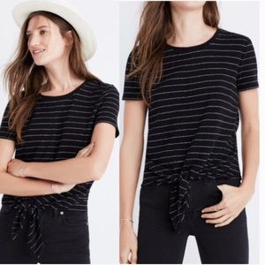 Madewell Modern Tie-Front Top in Stripe X-small